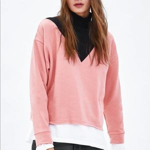 Zara Colorblock Turtleneck Sweatshirt